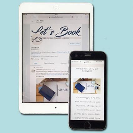 Tablet e cellulare con la home page di letsbook.org