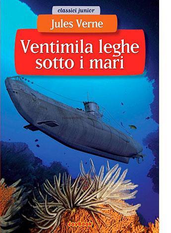 """La copertina di """"Ventimila leghe sotto i mari"""", libro scritto da Jules Verne e pubblicato da JoyBook"""