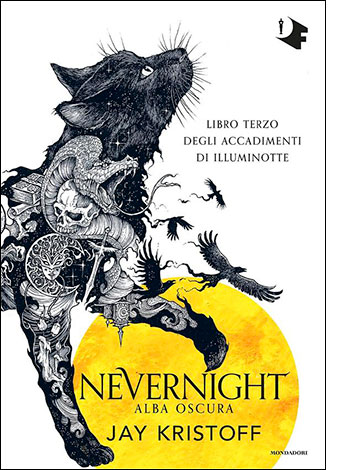 """La copertina del libro """"Alba oscura. Nevernight"""" di Jay Kristoff (Mondadori)"""