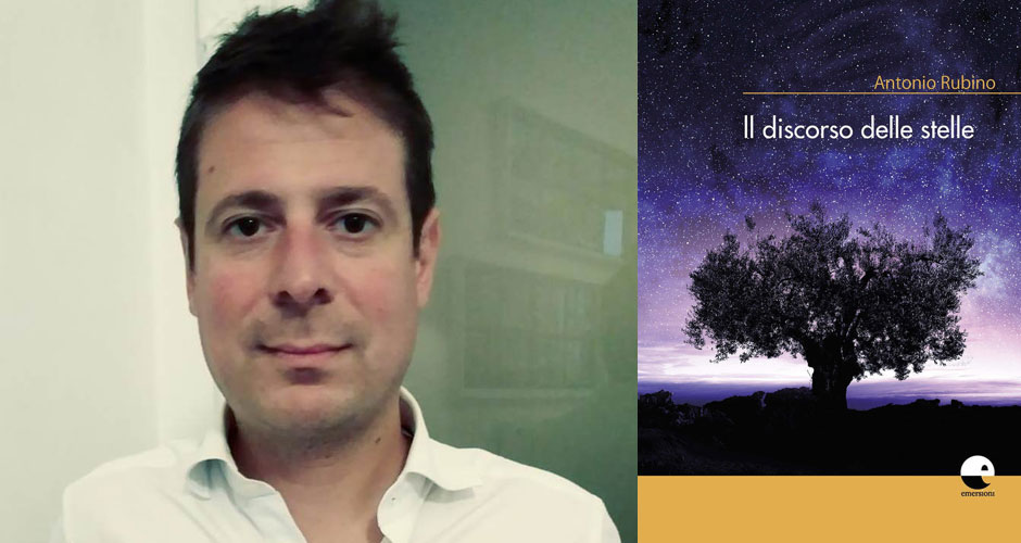 """Lo scrittore Antonio Rubino e, accanto, la copertina del suo libro """"Il discorso delle stelle"""""""