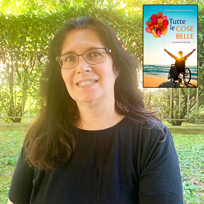 """Sabrina Bergamini Vitali e la copertina del suo libro """"Tutte le cose belle"""" (ITL Libri)"""