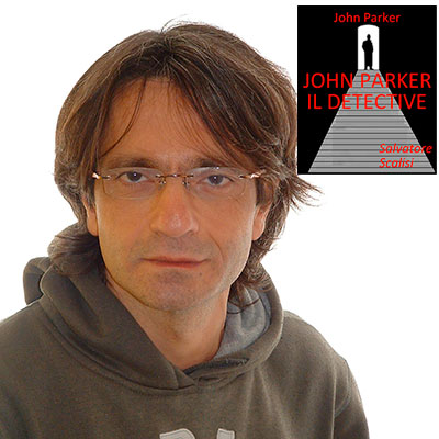 """Salvatore Scalisi e la copertina del suo libro """"John Parker, il detective"""""""