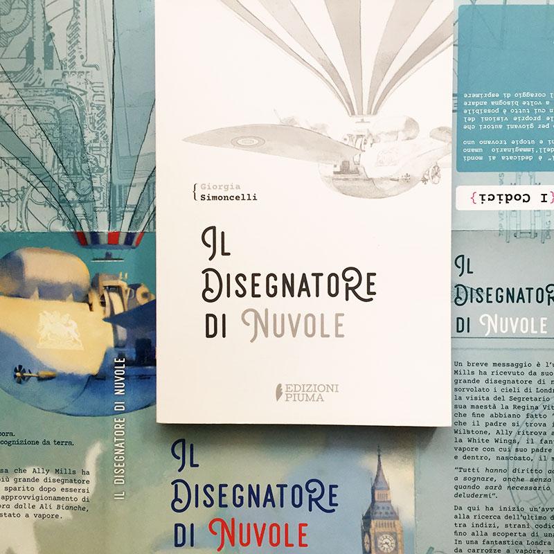 """L'interno della copertina """"Il disegnatore di nuvole"""" di Giorgia Simoncelli (Edizioni Piuma, 2020)"""