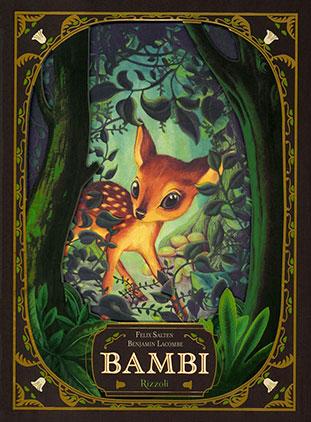 """La copertina del libro """"Bambi"""" di Felix Salten con illustrazioni di Benjamin Lacombe (Rizzoli)"""